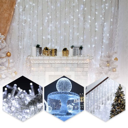 TSV 9.8ft*9.8ft Shiny Xmas String 300 LED Warm Light Fairy Wedding Curtain Decoration for Room Apartment Wateproof](Lights For Decorations)