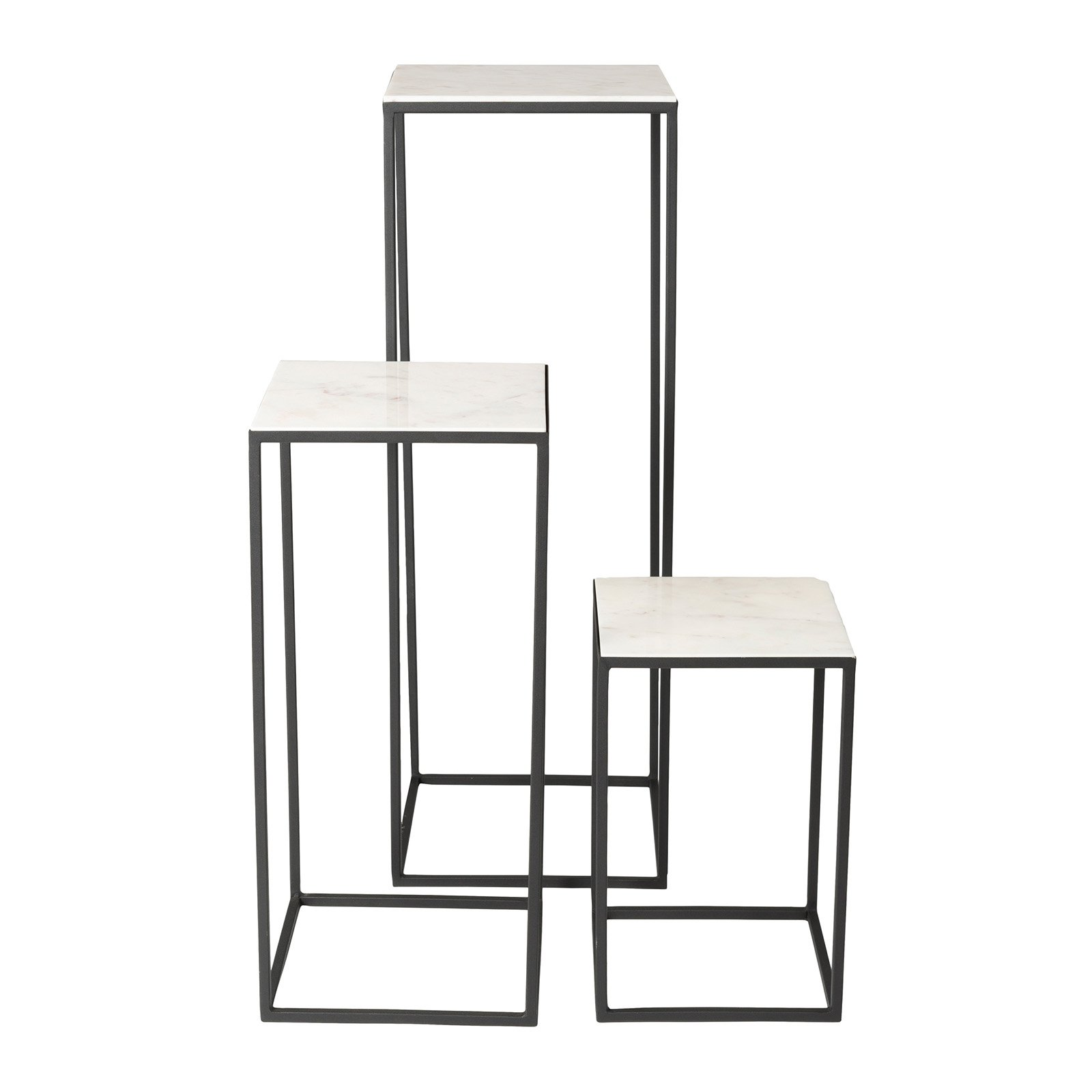 Highpoint Marble Pedestal Nesting Plant Stands - Set of 3