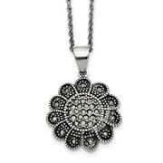 Primal Steel Stainless Steel Textured Flower Marcasite Necklace