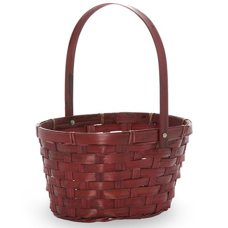 Wide Oval Composite Bamboo - Red Swing Handle Oval Bamboo Basket 8in