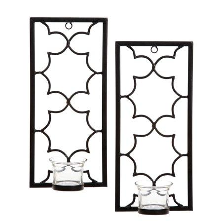 Rectangular Candle Sconce - Hosley® Set of Two, Iron Tea Light Candle Wall Sconces - 11