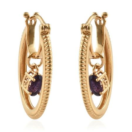 14K Yellow Gold Plated Oval Amethyst Hoops Hoop Earrings for Women Jewelry Hypoallergenic Cttw 0.7