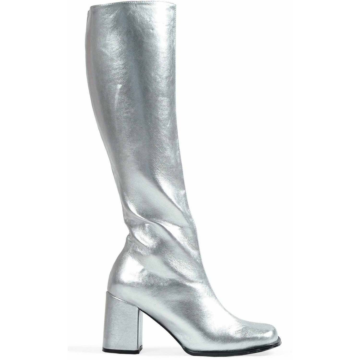 Womens GoGo Boot Covers 60s 70 Black White Silver Gold Shoe Cover Tops Knee High