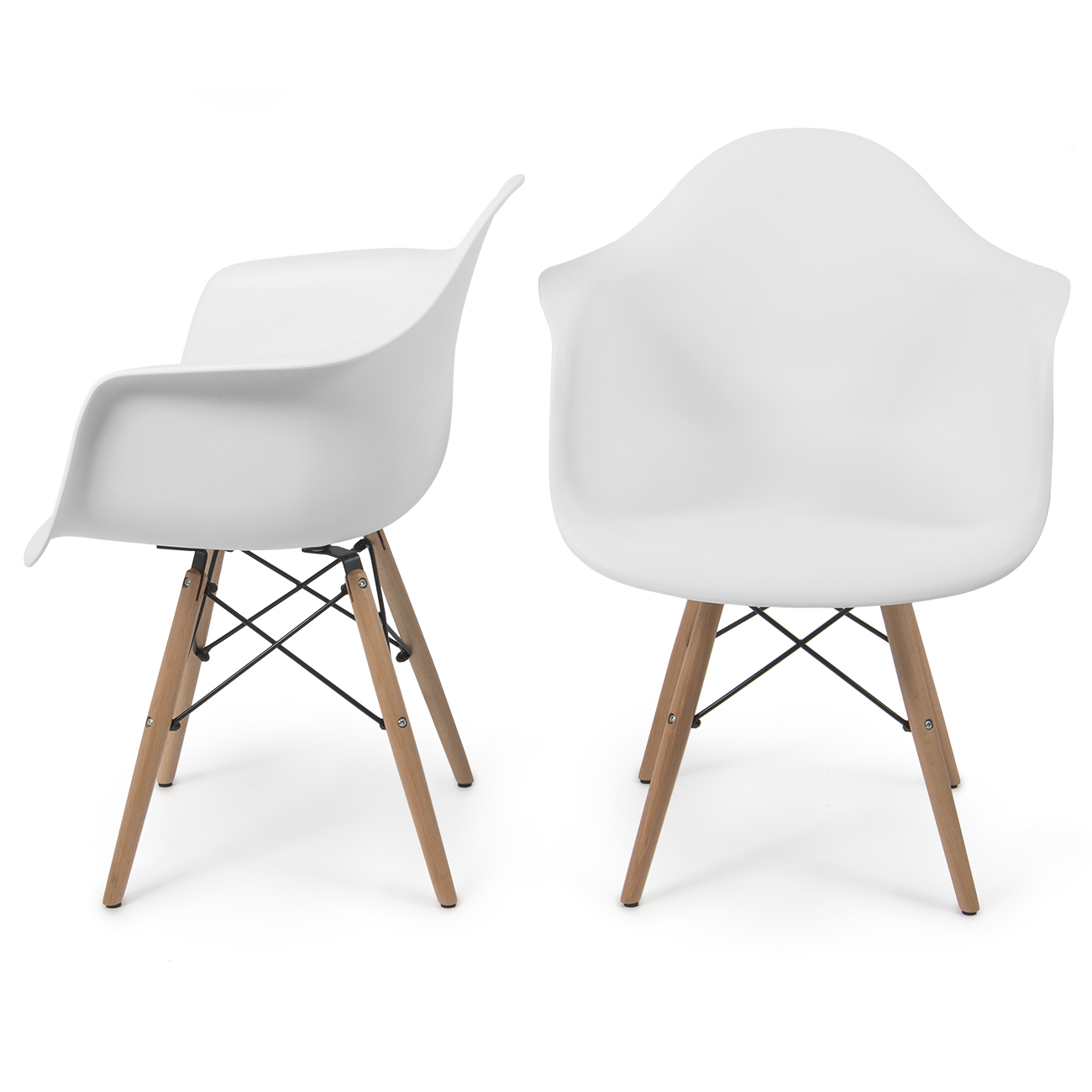 Belleze Retro Modern Armchair Side Seat Chairs with Wooden Legs, Shell Molded, Set of 2, White