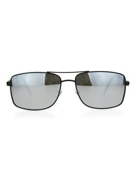d52c786f5d43d Product Image Mens Rectangular Racer Officer Pilots Metal Rim Agent  Sunglasses Black Silver Mirror. SA106