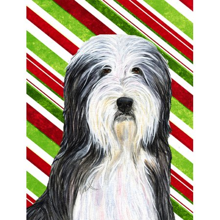 Bearded Collie Candy Cane Holiday Christmas Garden Flag
