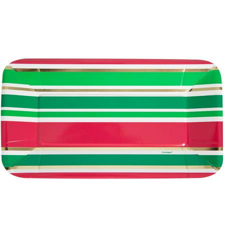 Foil Rectangle Paper Appetizer Chic Christmas Plates, 8ct ()