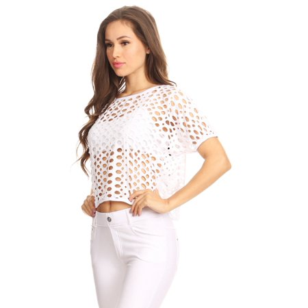 Women's Short Sleeve Oversized Perforated Fishnet Holes Crop Top (White, - Neon Fishnet Top