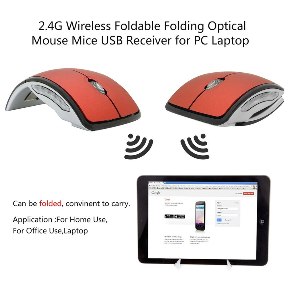 Folding Wireless Mouse Optical Computer Mouse ,With USB 2.4Ghz Receiver for PC Laptop