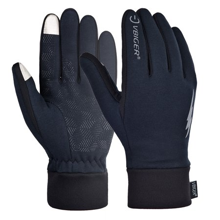 Vbiger Winter Warm Gloves Windproof Touch Screen Running Cycling Climbing Skiing Gloves Cold Weather Gloves for Men