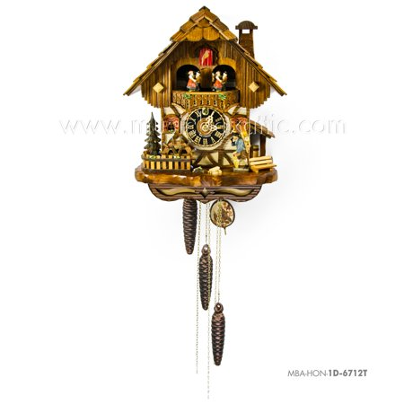 Cuckoo Clock 1 Day Chalet - 1 Day Musical Black Forest Chalet Cuckoo Clock with Clock Peddler By Hönes
