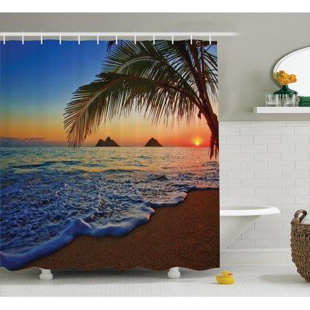 Hawaiian Decorations Shower Curtain Set, Pacific Sunrise At Lanikai Beach, Hawaii Colorful Sky Wavy Ocean Surface Scene, Bathroom Accessories, 69W X 70L Inches, By Ambesonne - Halloween 5 Shower Scene