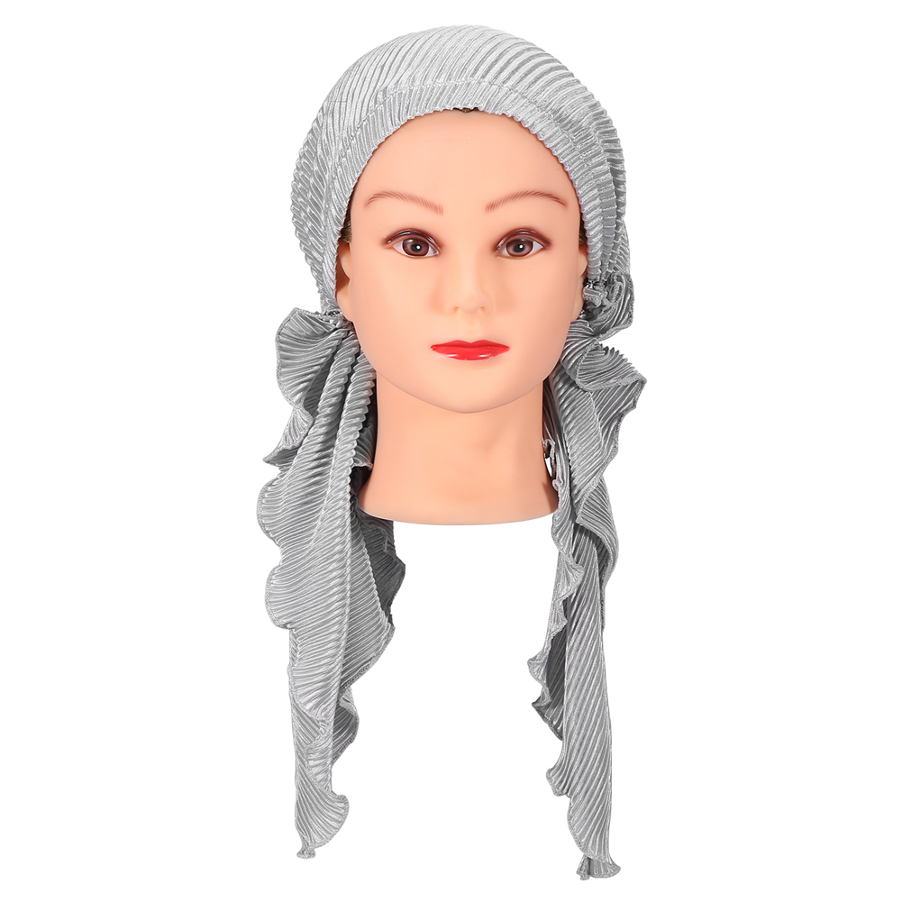 Yosoo 5Colors Women Fashion Turban Head Wrap Cancer Chemo Cap Pleated Headscarf Hat, Woman Turban, Chemo Turban