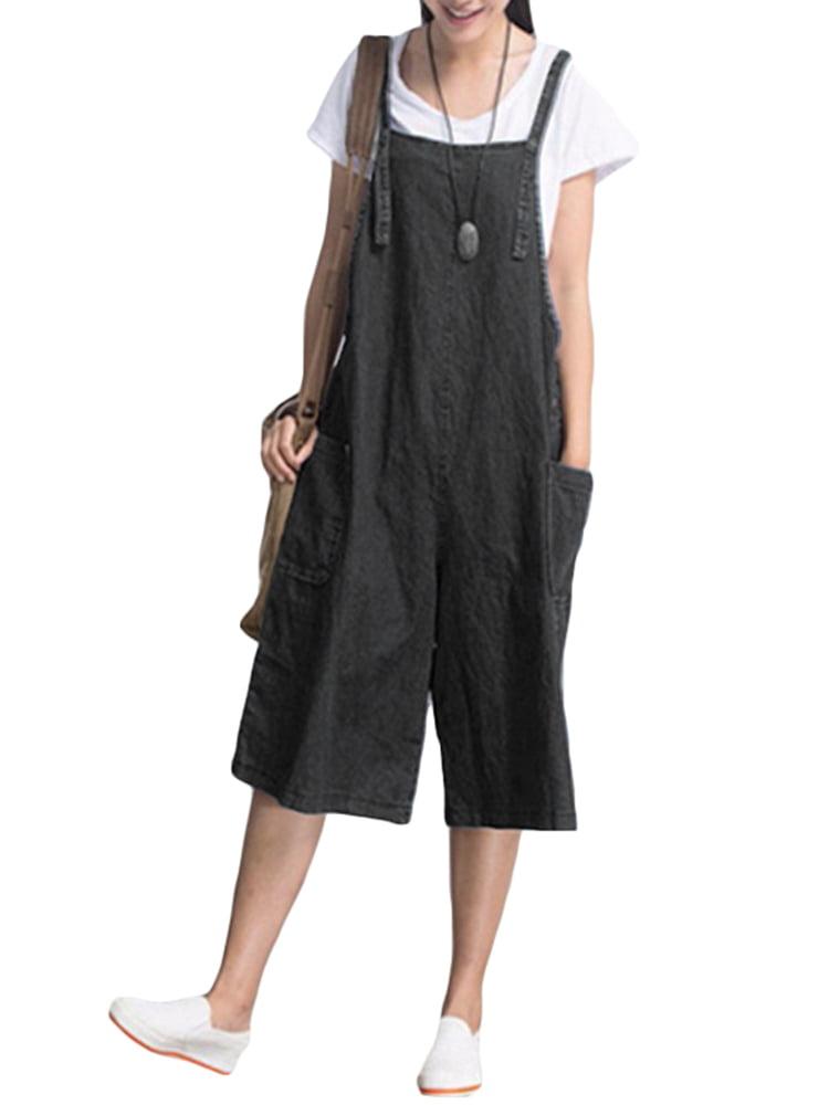 Pregnancy Jumpsuit with Pockets Denim Wide Leg Pants Maternity Pants
