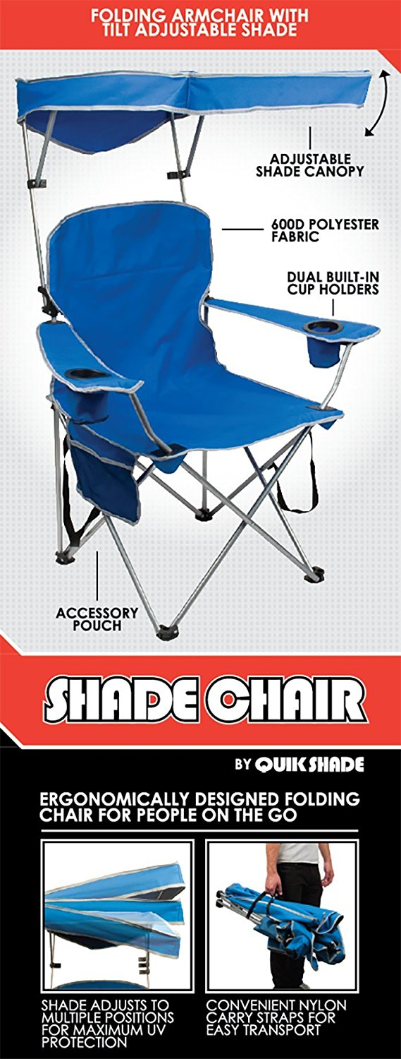 Pleasant Tt Up Adjustable Canopy Folding Camp Chair Blue Fast Shipping Machost Co Dining Chair Design Ideas Machostcouk