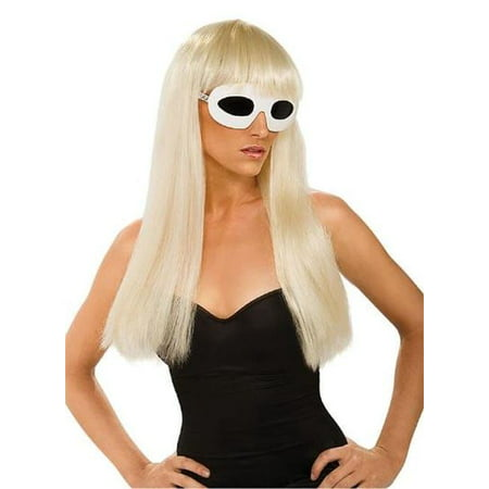 Lady Gaga Blonde Straight Hair Wig With Bangs Officially Licensed Costume Accessory Rubie's 51550](Blonde Afro Halloween Costume)