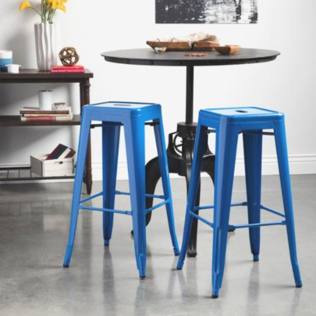 I Love Living Tabouret 30 Inch Baja Blue Metal Bar Stools Set Of 2 Walmar