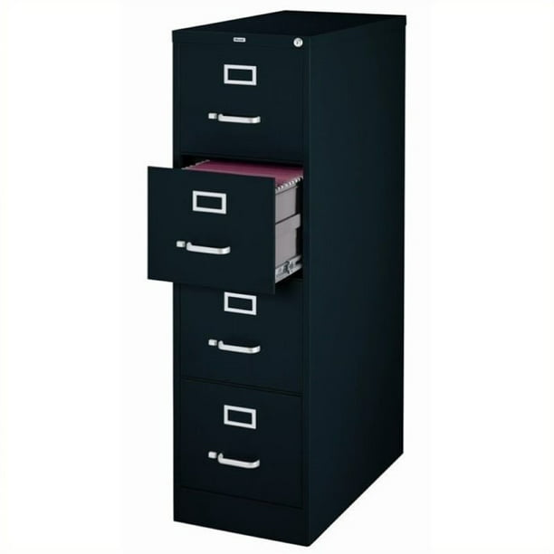"Scranton & Co 4 Drawer 22"" Deep Letter File Cabinet in Black, Fully Assembled"