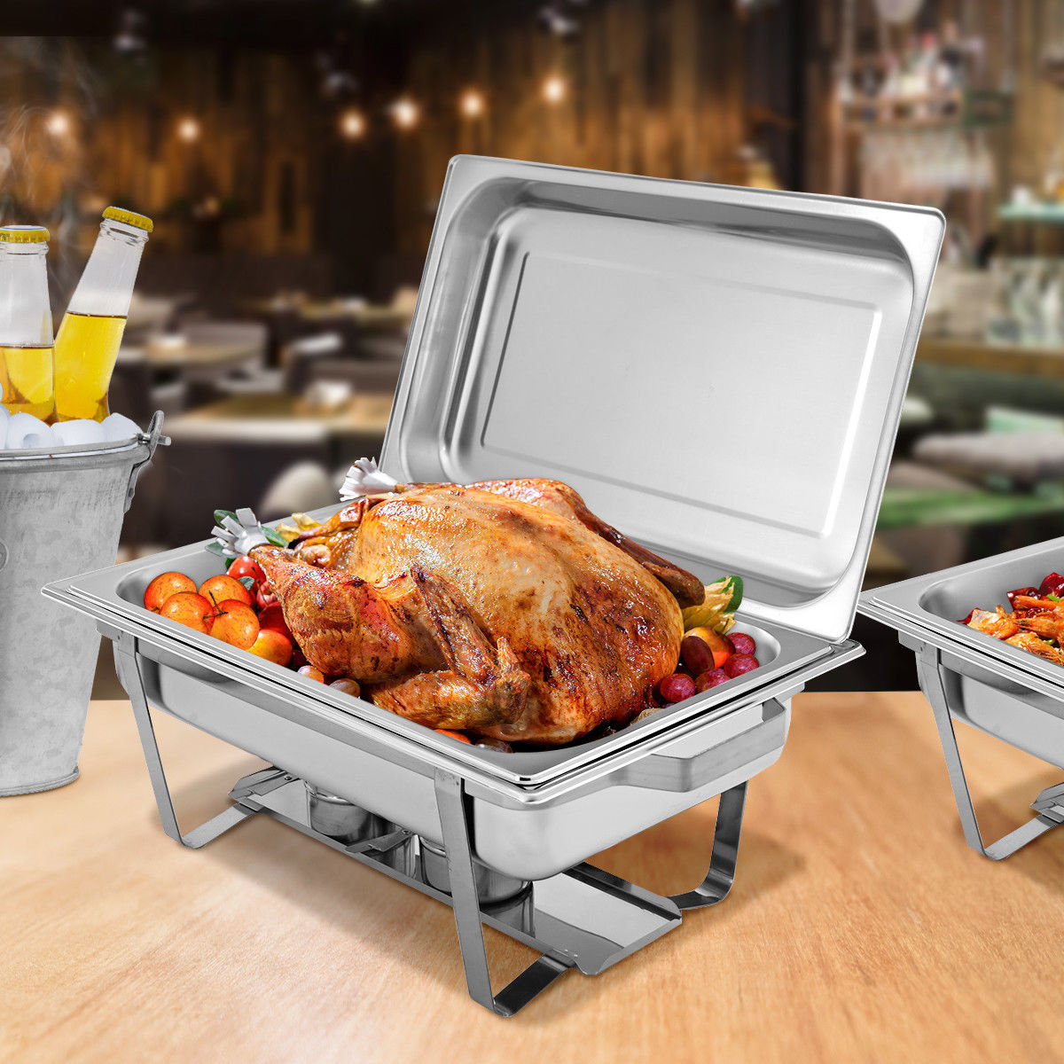 2 Packs Chafing Dish 9 Quart Stainless Steel Rectangular Chafer Full Size Buffet - image 2 of 10