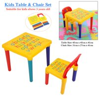 WALFRONT Kids Table with Chairs,Table & Chairs Plastic DIY Kids Set Toddler Play Activity Fun Child Toy