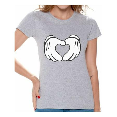 Awkward Styles Cartoon Hands Heart Shirt for Women Valentine Heart T Shirt Cute Valentine Heart Women's Tshirt Valentine's Day Love Gift Idea for Her Heart Valentines Day Valentine Shirts for Women ()