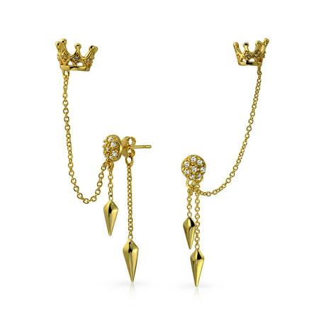 Princess Crown Arrows Dangling Cartilage Ear Helix Earrings Warp Chain Ear Cuff Earrings 14K Gold Plated Sterling Silver