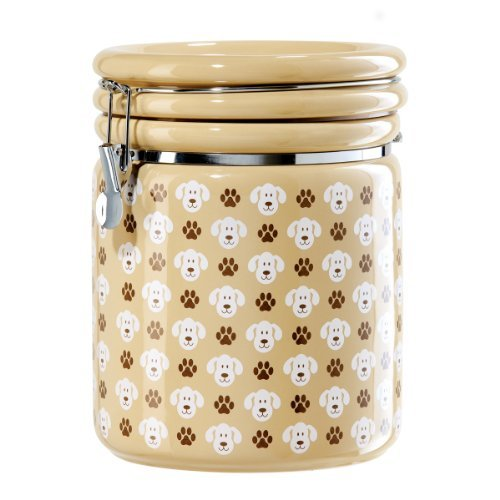 Oggi 8306 Ceramic Airtight Dogs and Paws Pet Treat Canister