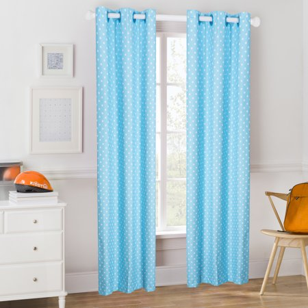 Mainstays Kids Aqua Blue Polka Dot Room Darkening Coordinating Window