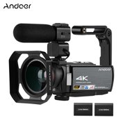 Andoer HDR-AE8 4K WiFi Digital Video Camera Camcorder DV Recorder 30MP 16X Digital Zoom IR Night Vision 3 Inch IPS LCD Touchscreen with 2pcs Rechargeable Batteries + Extra 0.39X Wide Angle Lens + Exte