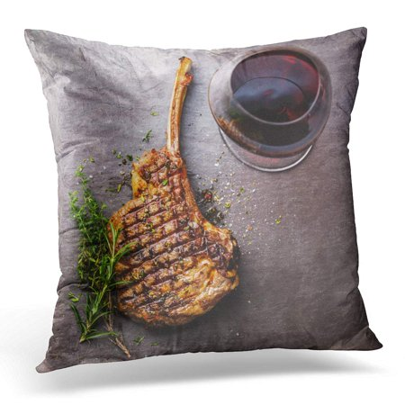 ECCOT BBQ Grilled Beef Barbecue Veal Rib Steak on Bone and Red Wine Stone Slate Directly Pillowcase Pillow Cover Cushion Case 16x16 inch