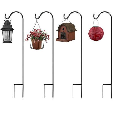 (Sorbus Shepherd's Hooks Extendable Garden Planter Stakes for Bird Feeders and More, Set of 4)
