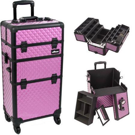 Sunrise I3461DMPLB Purple Dmnd Trolley Makeup Case - I3461