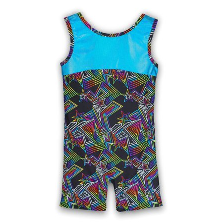 Gymnastics Biketard for Girls - Maze Runner Turquoise - Leap Gear by Pelle - 4   Child Small ()