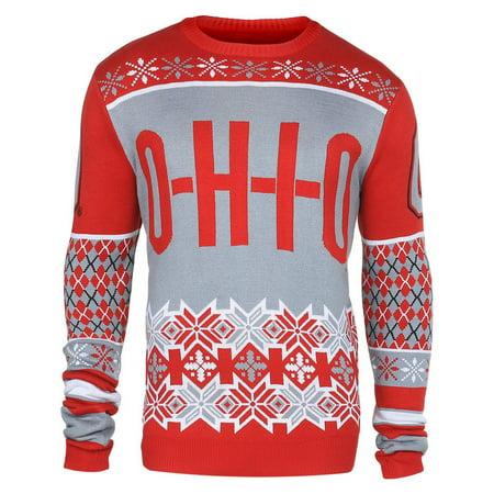 Ohio State Ugly Christmas Sweater.Ohio State Buckeyes Slogan Ugly Christmas Sweater M