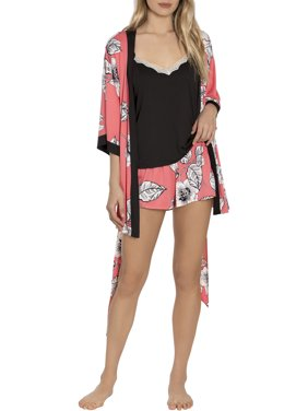 Secret Treasures Women's Cami and Short Set with Matching Robe