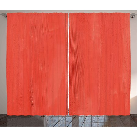 Walnut Lumber Wood Board - Coral Curtains 2 Panels Set, Vintage Wood Board Plank Texture Image Aged Barn Door Lumber Grunge Natural Surface, Window Drapes for Living Room Bedroom, 108W X 90L Inches, Dark Coral, by Ambesonne