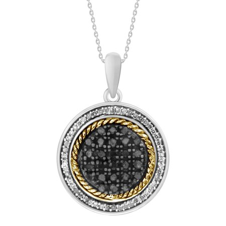 AV DIAMONDS VAD LLC 1/3 cttw Round Black & White Diamond Ladies Circle Cluster Pendant w/18