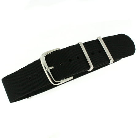 Green Nylon Band (18mm Watch Band Nylon One Piece Military Sport Black Stainless Buckle  )
