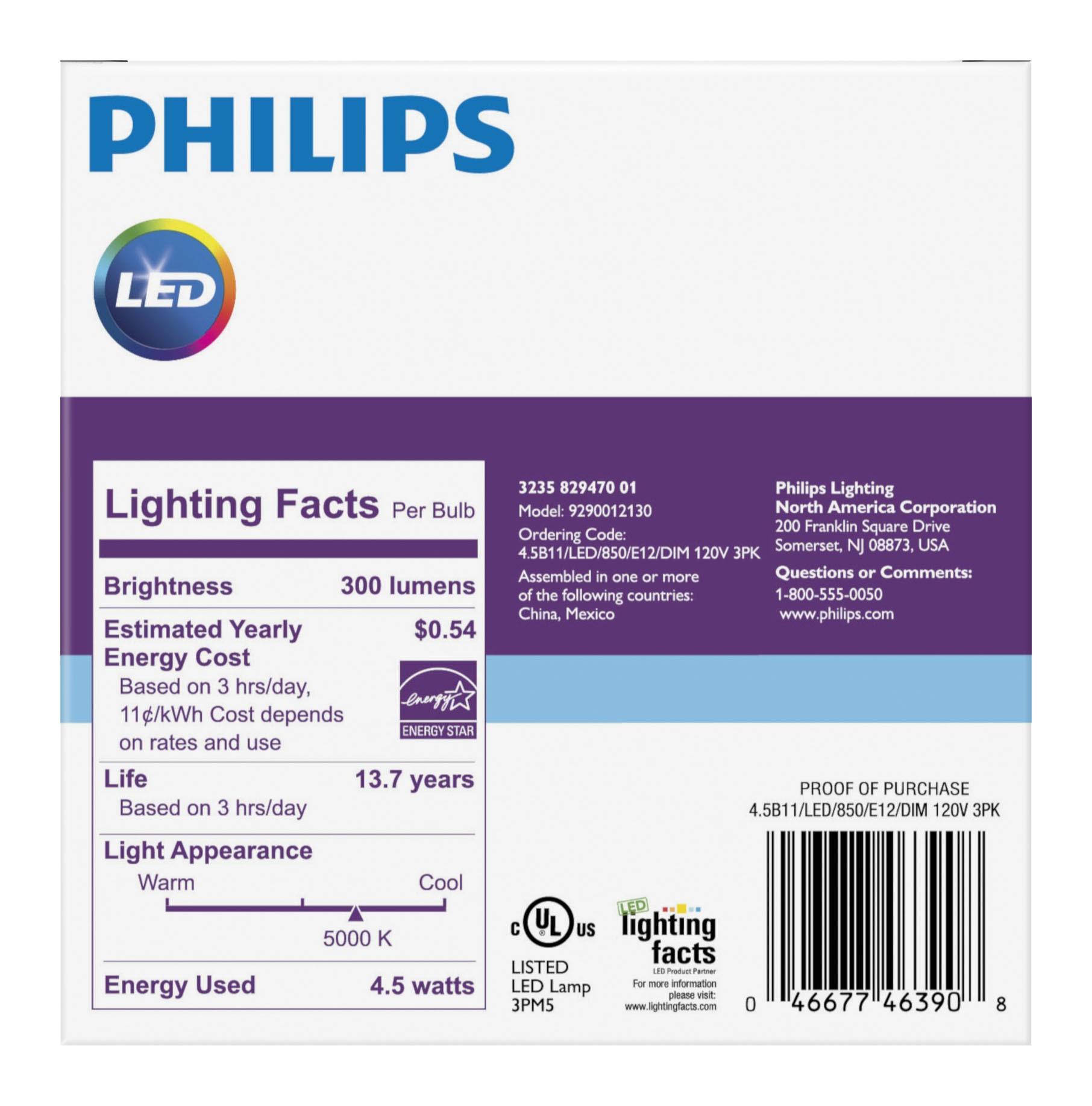 Philips LED Dimmable Decorative Light Bulb, B11, Daylight, 40 WE, Candelabra Base, 3 Ct