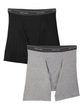 Fruit of the Loom Big Men's Black and Gray Boxer Briefs, 2 Pack