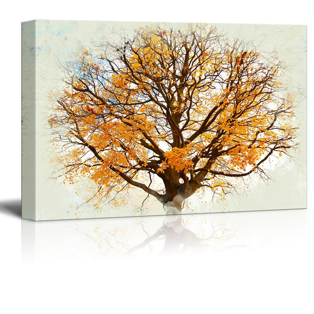wall26 - Canvas Print Landscape Wall Art - Beautiful, Autumnal Maple Tree Against The Sky Background - Gallery Wrap Modern Home Decor | Ready to Hang -32x48 inches