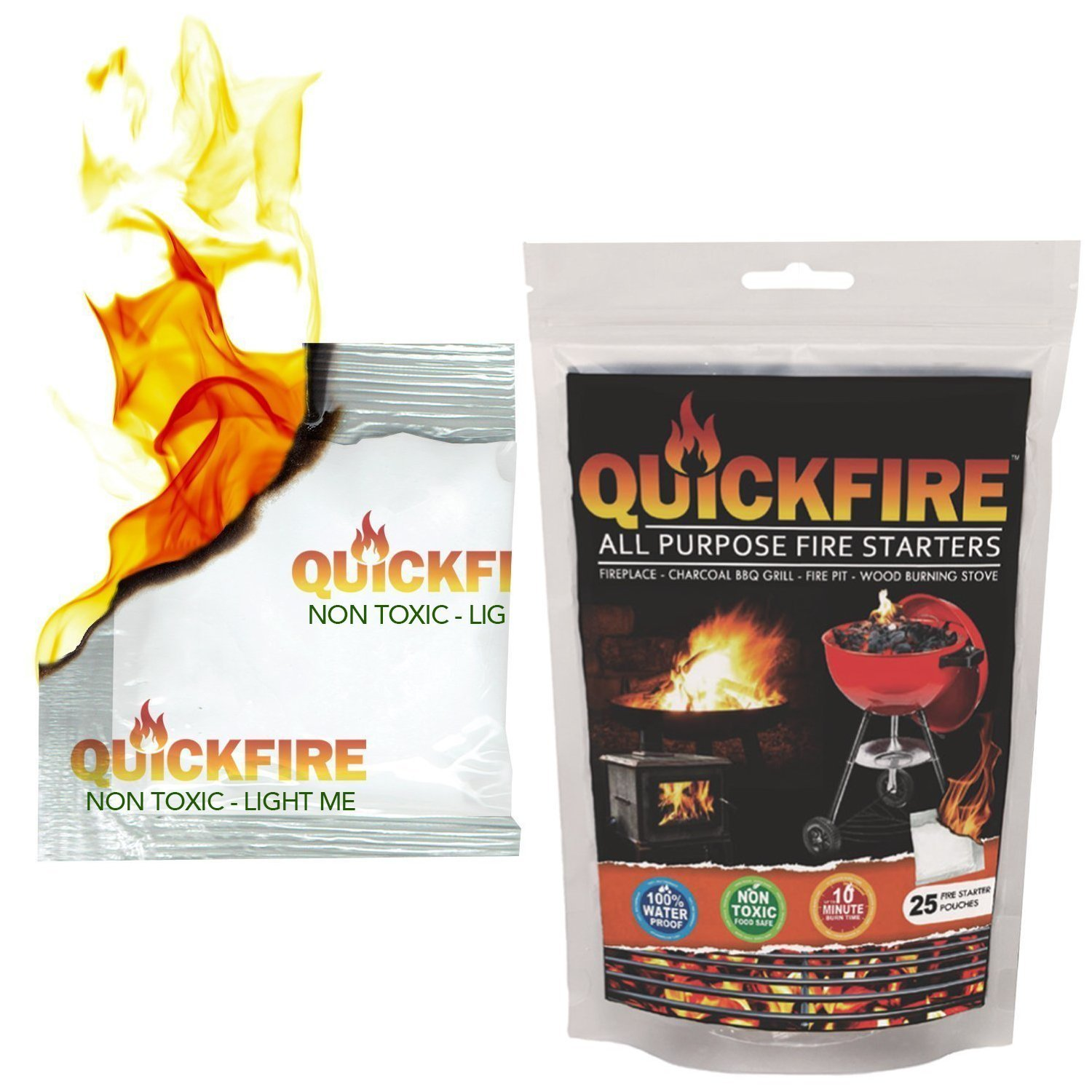 QuickFire, Instant Fire Starters. Voted #1 Camping And Charcoal BBQ Fire Starter of 2016. Waterproof, Odorless And Non-Toxic. (25pk) by Quickfire