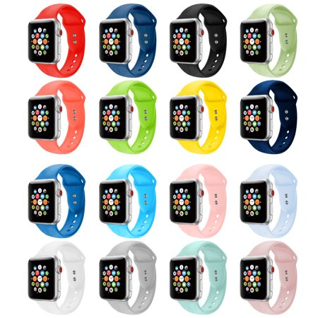 Eta Watch Parts - Silicone Sport Replacement Watch Band for Apple Watch Series 1, 2, 3, & 4 - 38mm, 40mm, 42mm, or 44mm (16-Colors)