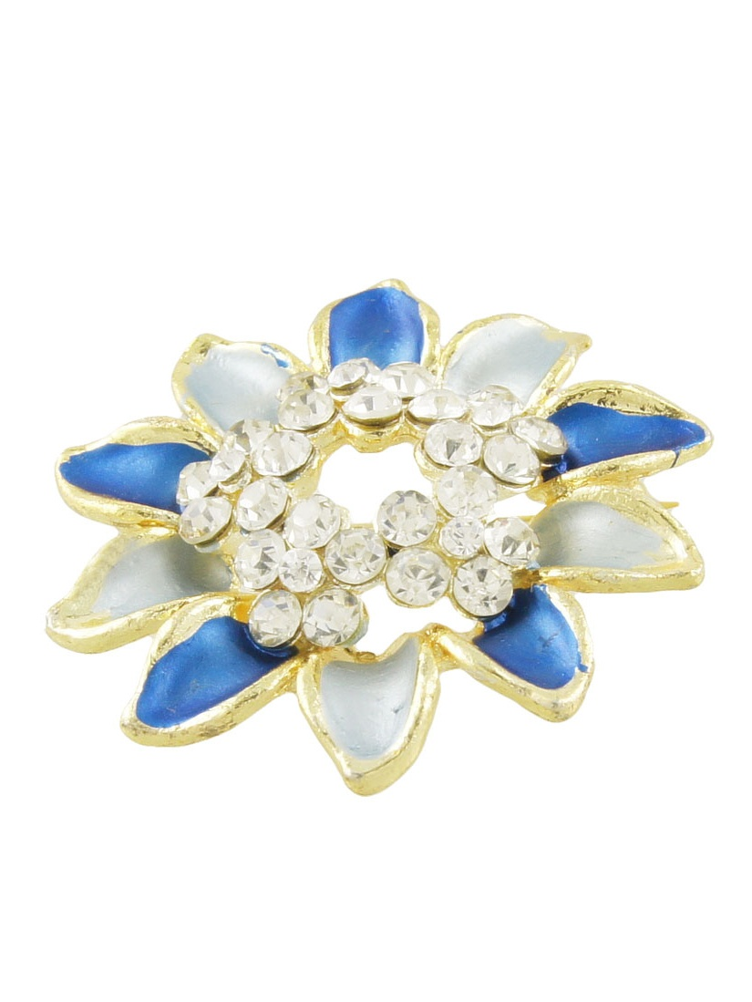 Rhinestone Detailing Two Tone Blue Floral Shape Clothes Brooch Brreastpin by Unique-Bargains