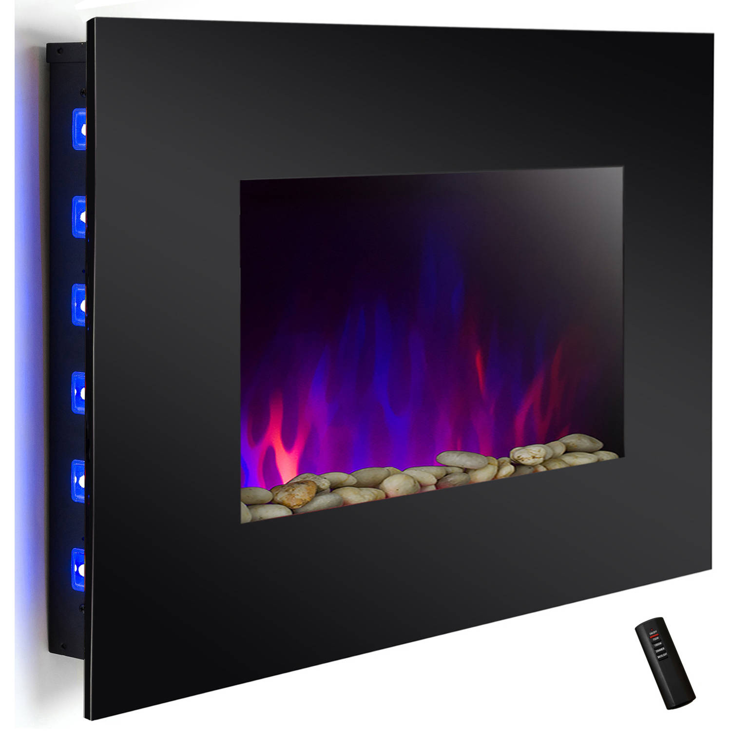 "AKDY FP0047 36"" 1500W Wall Mount Electric Fireplace Heater with Tempered Glass, Pebbles, Logs and Remote Control, Black"