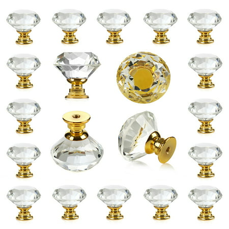 25 pcs Crystal Glass Golden Drawer Pulls Decorative Knobs for Kitchen Bathroom Cabinet, Dresser and Cupboard
