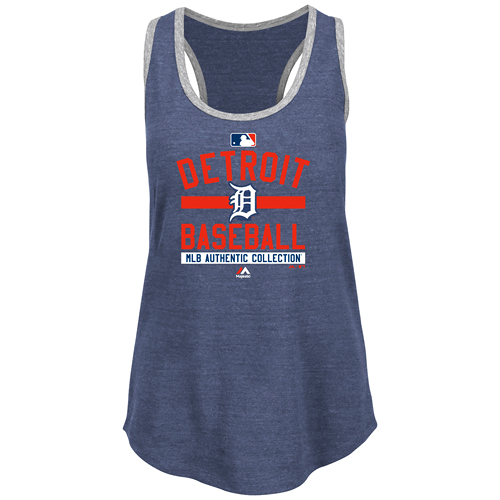 Detroit Tigers Majestic Women's Tri-Blend Authentic Collection Team Property Tank Top - Navy Blue