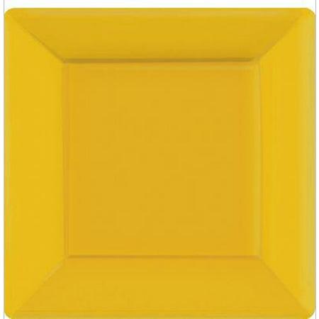 Square Paper Plates | 20ct (7 inch, Yellow Sunshine) (Shine Paper)
