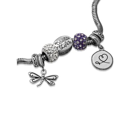 Stainless Steel Limited Edition Dragonfly Bracelet and Charm Pack ()