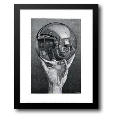 Hand with Sphere 15x18 Framed Art Print by Escher, - Hand Print Art